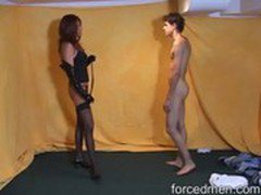 Slave gone naked for humiliation and back whipping