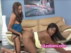 Black lesbian slut fucks horny girlfriend with a strapon
