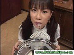 Real asian teen gets bukkake and plays with the cum in her mouth