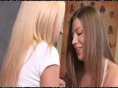 Two sweet lesbian teens try anal