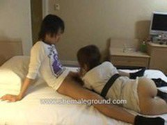 Asian Teen Ladyboy Gets Stuffed On A Bed