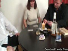 She loses in poker and gets fucked by two guys