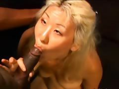 horny asian girl fucks with a black gay