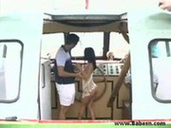 Amazing brunette get fucked on boat