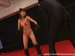 Slave in latex suit got his balls kicked endlessly by mistress