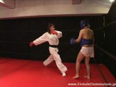 Mistress is serious in beating up a slave in a sparring match