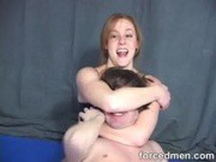 Mistress smothers man by locking him in her arms