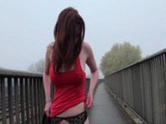 Milf amateur redhead Holly flashing and getting naked in public