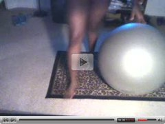 EBONY BOOTY ON EXERCISING BALL