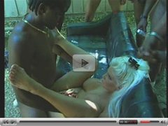 blond bitch sucking five black cocks