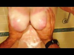 Amature BBW films guy slapping her tits in shower