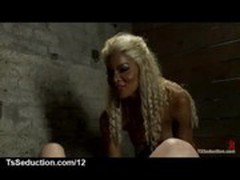 Black blonde tranny fucks bound guy and cums on his face