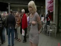 Blonde fucked in ass in public