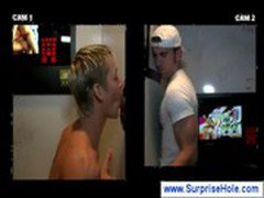 Gay goes deepthroat through a gloryhole