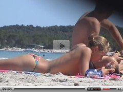 beach incredible blonde topless corsica