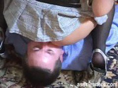 Mistress facesits an ass hole as she demands him to lick her ass hole