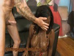 Two White Guys Gagging Her Black Throat