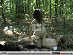 Pregnant woman riding cock in the woods