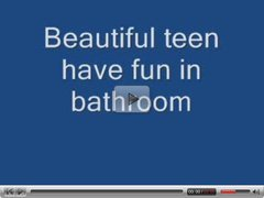 Beautiful teen have fun in bathroom