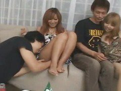 Horny Japanese babe hosts teen orgy uncensored
