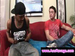 Horny gay gags on black guys massve dick like a freak