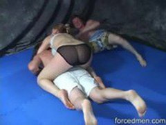 Powerful mistress is victorious against two weak men