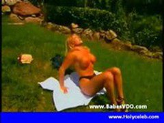 Busty blonde nailed blackcock outdoor