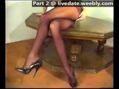 Amateur girl with very long legs dancing
