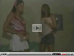 2 bi girls play for the camera