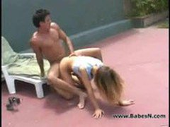 Young brunette slut fucking in the open place