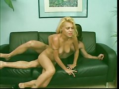 Blonde Latina babe with cute tits gets nailed, takes a hot facial on the couch