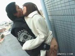 Hot Japanese teen exhibs and gets fucked outdoor