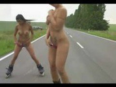 Masturbating while Roller Blading on the Public Road