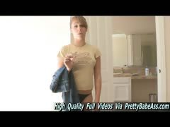 Ella natural teen cute girl walking through a busy