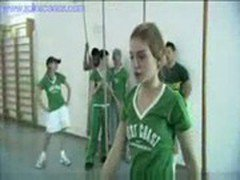 Coed Cumming in Gym Class