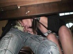 Blonde in bar blowjob then fucking in public hidden on street