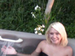 Hot Tub Blowjob By Blonde Teen