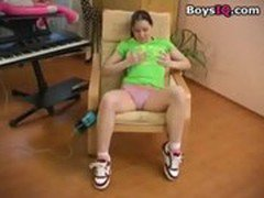Tight, tender brunette solo chair camera tease - BoysIQ.com sex video