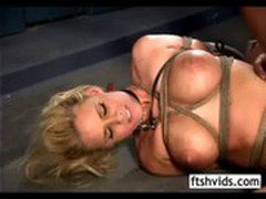 Bound blonde is walked like a dog then fucked