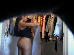 Hot black teen dressing up on hidden cam