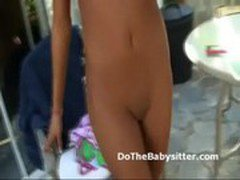 Couple catches petite brunette babysitter slacking off tanning out naked