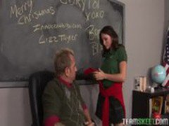 Beautiful busty brunette Lizz Tayler getting fucked hard by her teacher