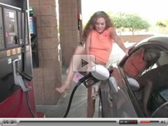 HOT Redhead flashes at a gas station