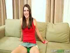 Sweet brunette Aubrey Lee riding on top of her interviewer