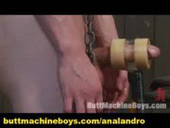 Self-Bound Guy with Big Cock Cums by Machine