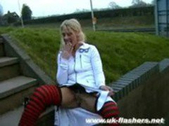 Blonde uk pornstar Crystel Leis public flashing and wild pussy squirting