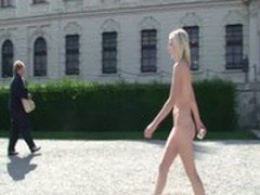 Lucie - Amazing hot blonde babe naked in public streets