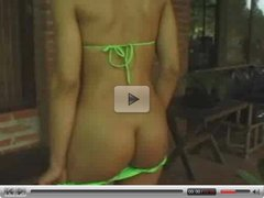 Amazing Shemale In Green Bikini