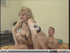 A blonde gran with glasses rides her hot young boy