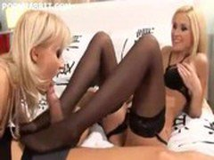 Two hotties in stockings fucking and licking cum off each others feet